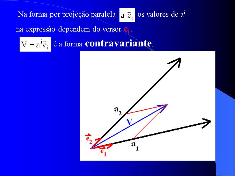 Na forma por projeção paralelaos valores de a i na expressão dependem do versor e i. é a forma contravariante.