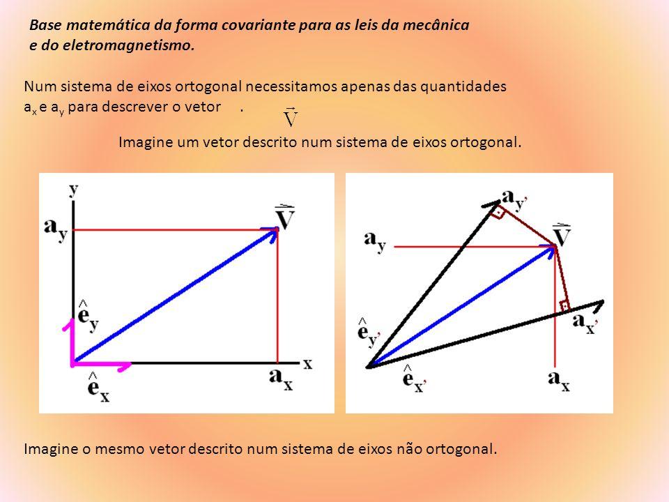 Num sistema de eixos não ortogonal generalizado as quantidades a x, e a y, para descrever o vetor não são as únicas possiveis.