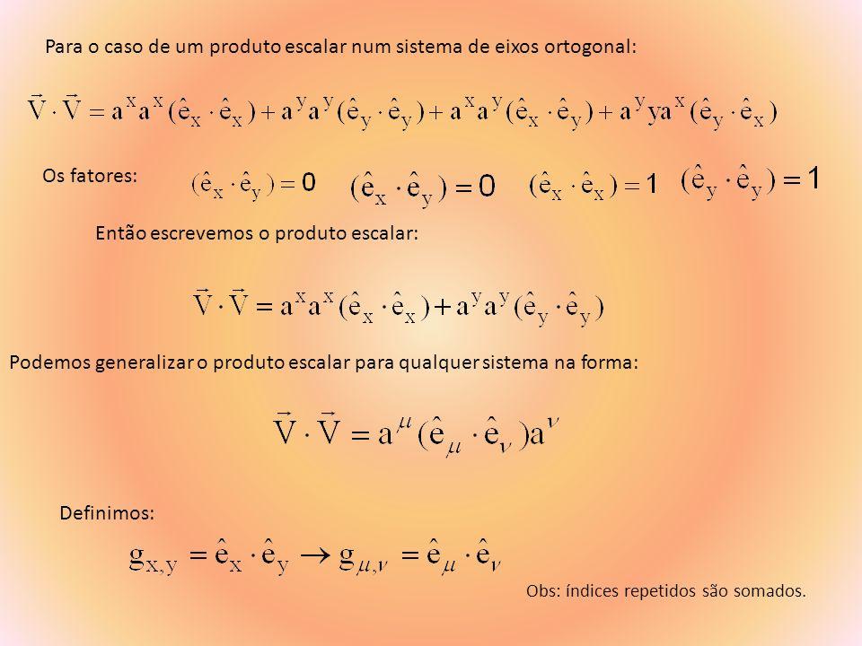 Para se escrever uma derivada na forma covariante: Obs: índices repetidos são somados.