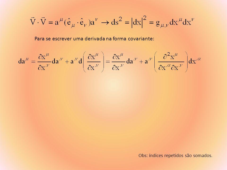 No ref.Inercial ds 2 = dx 2 + dy 2 + dz 2 - c 2 dt 2 e então: g = (1,1,1,-1) diagonal em: No ref.