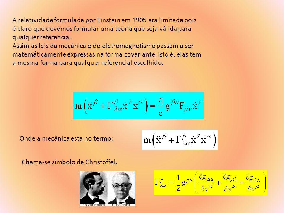 O eletromagnetismo de Maxwell é descrito na forma: Sendo que: é chamado de tensor métrico.