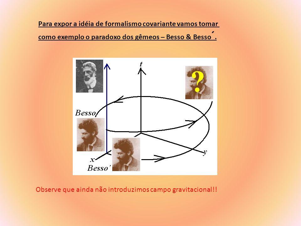 Imagine que Besso esta parado no ponto x e que seu irmão Besso ´ desloca-se em círculo com velocidade 0,6c.