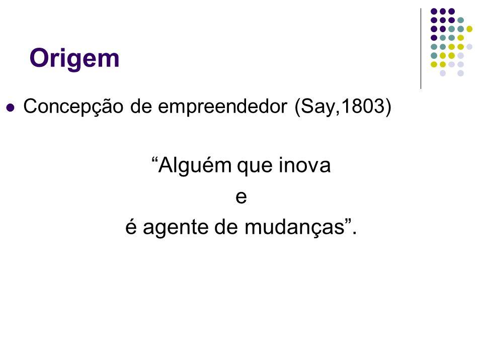 Origem Concepção de empreendedor (Say,1803) Alguém que inova e é agente de mudanças.