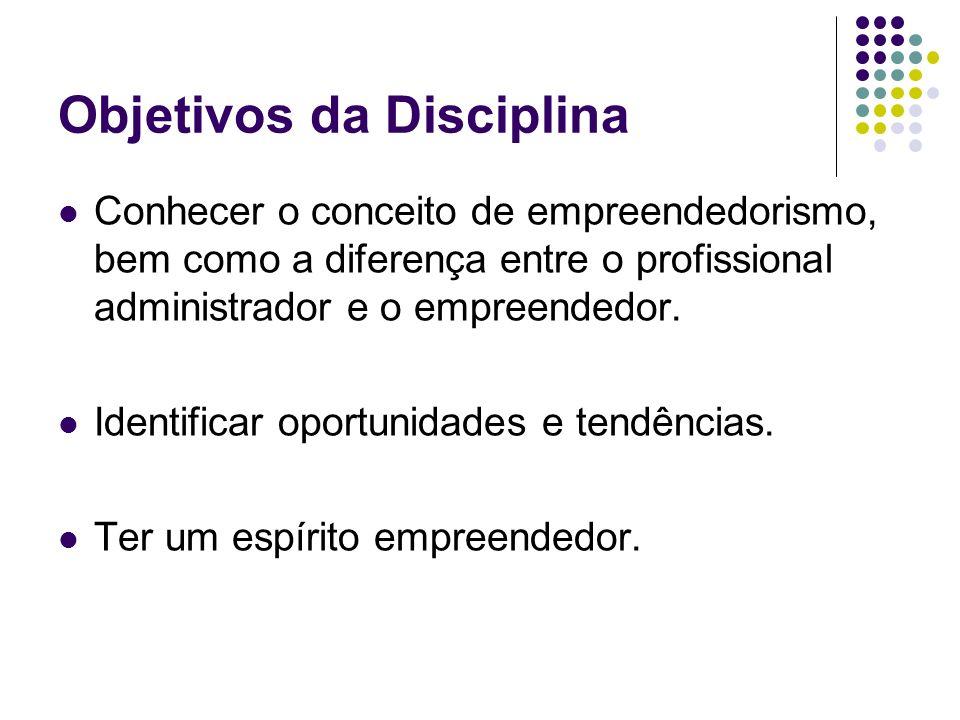 Objetivos da Disciplina Conhecer o conceito de empreendedorismo, bem como a diferença entre o profissional administrador e o empreendedor.