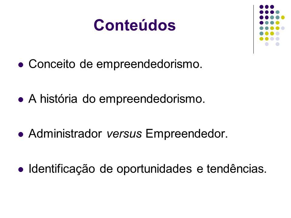 Conteúdos Conceito de empreendedorismo.A história do empreendedorismo.