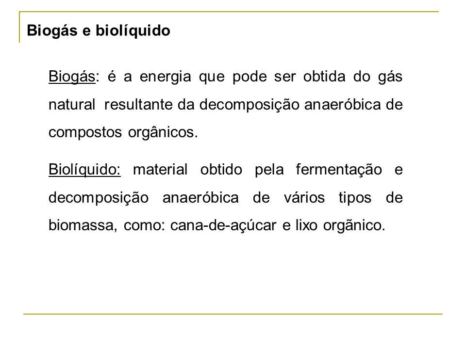 Biogás e biolíquido Biogás: é a energia que pode ser obtida do gás natural resultante da decomposição anaeróbica de compostos orgânicos.