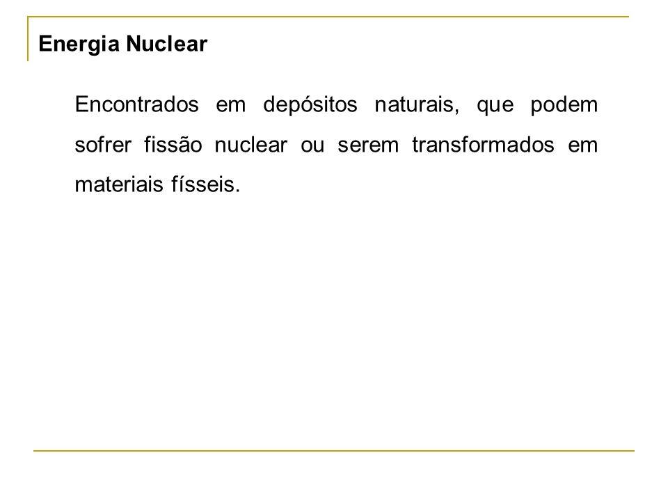 Energia Nuclear Encontrados em depósitos naturais, que podem sofrer fissão nuclear ou serem transformados em materiais físseis.