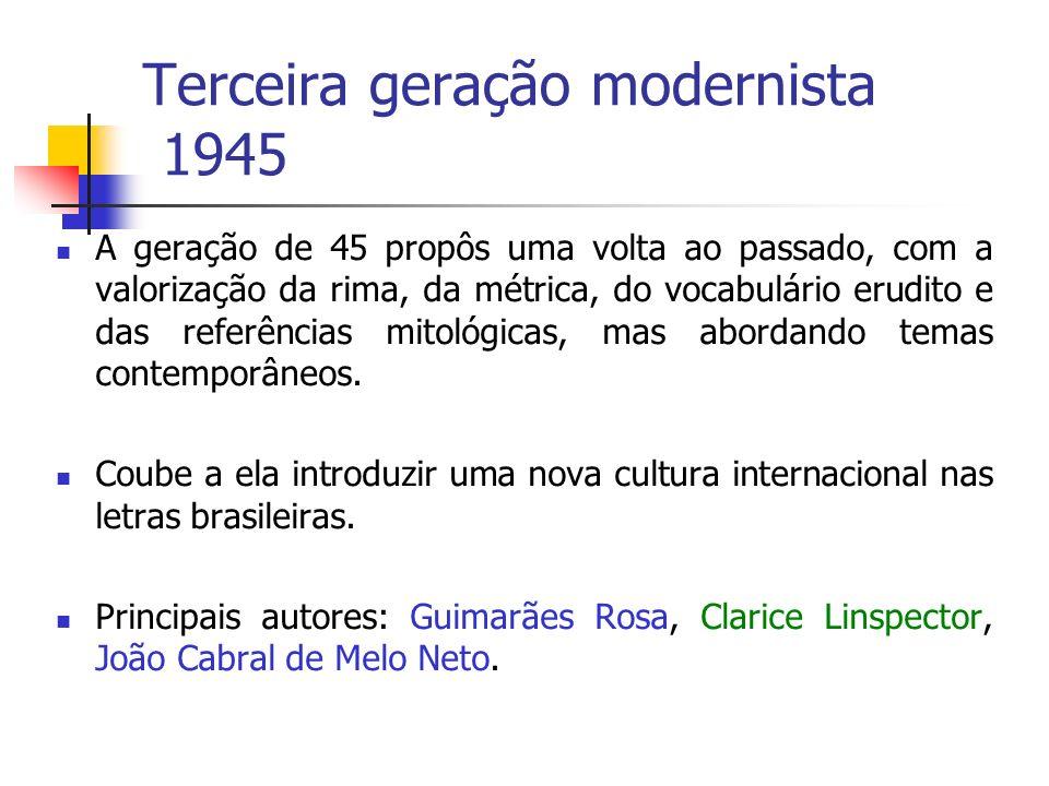 Terceira geração modernista 1945 A geração de 45 propôs uma volta ao passado, com a valorização da rima, da métrica, do vocabulário erudito e das referências mitológicas, mas abordando temas contemporâneos.