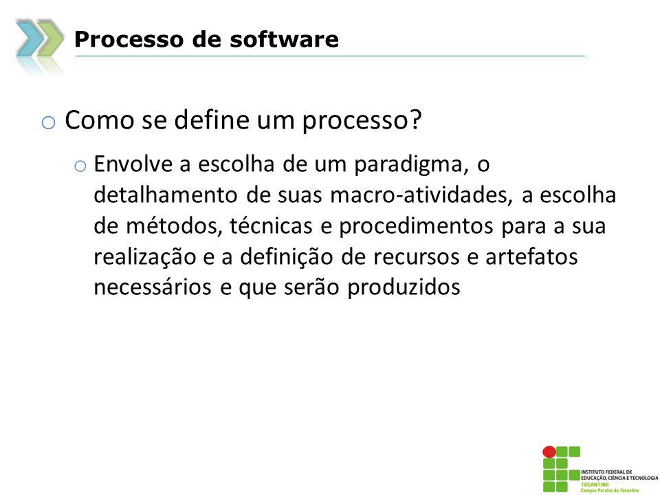 Processo de software o Como se define um processo.