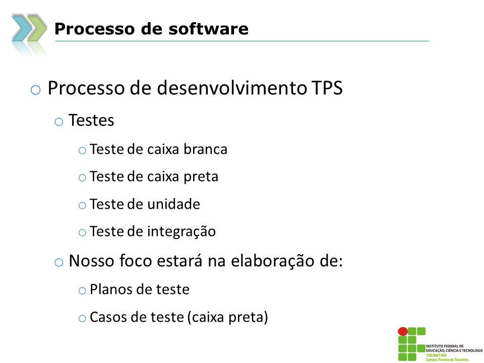 Processo de software o Processo de desenvolvimento TPS o Testes o Teste de caixa branca o Teste de caixa preta o Teste de unidade o Teste de integração o Nosso foco estará na elaboração de: o Planos de teste o Casos de teste (caixa preta)