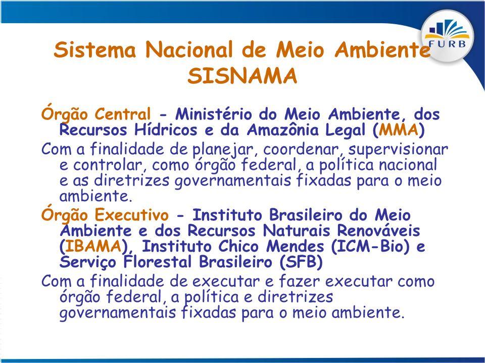 Sistema Nacional de Meio Ambiente SISNAMA Órgão Central - Ministério do Meio Ambiente, dos Recursos Hídricos e da Amazônia Legal (MMA) Com a finalidad