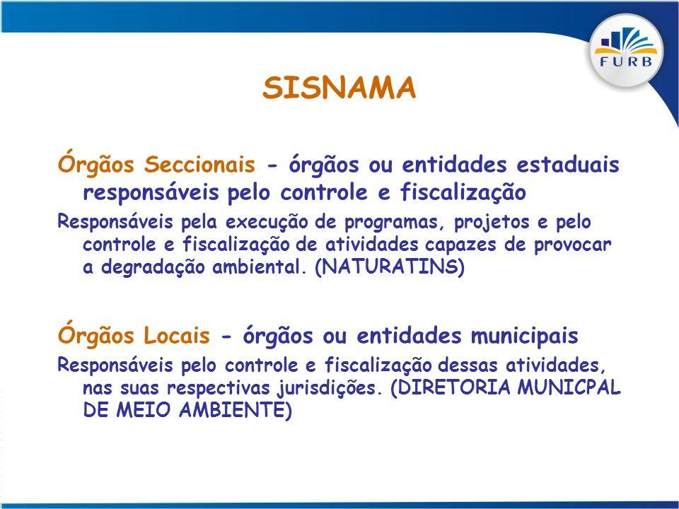 SISNAMA Órgãos Seccionais - órgãos ou entidades estaduais responsáveis pelo controle e fiscalização Responsáveis pela execução de programas, projetos