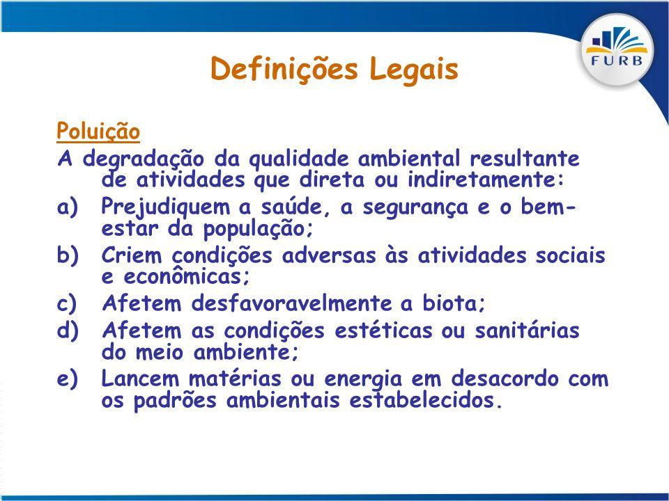 Definições Legais Poluição A degradação da qualidade ambiental resultante de atividades que direta ou indiretamente: a)Prejudiquem a saúde, a seguranç