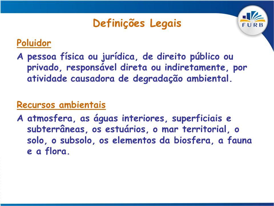 Definições Legais Poluidor A pessoa física ou jurídica, de direito público ou privado, responsável direta ou indiretamente, por atividade causadora de