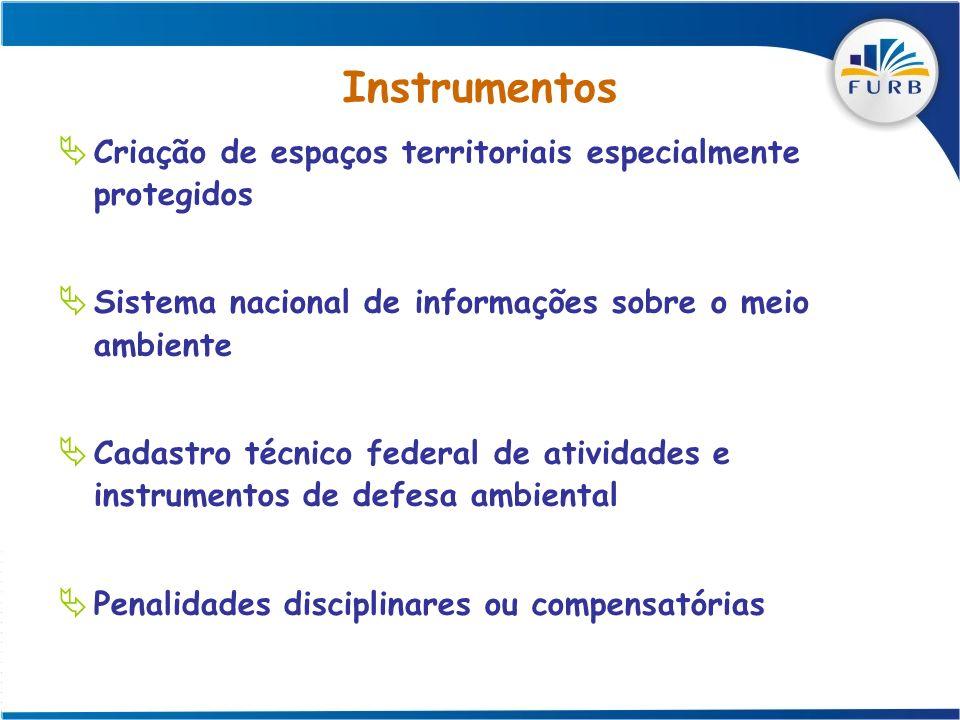 Instrumentos Criação de espaços territoriais especialmente protegidos Sistema nacional de informações sobre o meio ambiente Cadastro técnico federal d