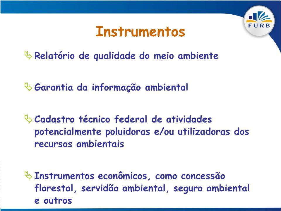 Instrumentos Relatório de qualidade do meio ambiente Garantia da informação ambiental Cadastro técnico federal de atividades potencialmente poluidoras