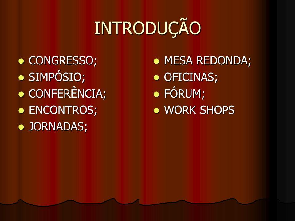 INTRODUÇÃO CONGRESSO; CONGRESSO; SIMPÓSIO; SIMPÓSIO; CONFERÊNCIA; CONFERÊNCIA; ENCONTROS; ENCONTROS; JORNADAS; JORNADAS; MESA REDONDA; MESA REDONDA; O