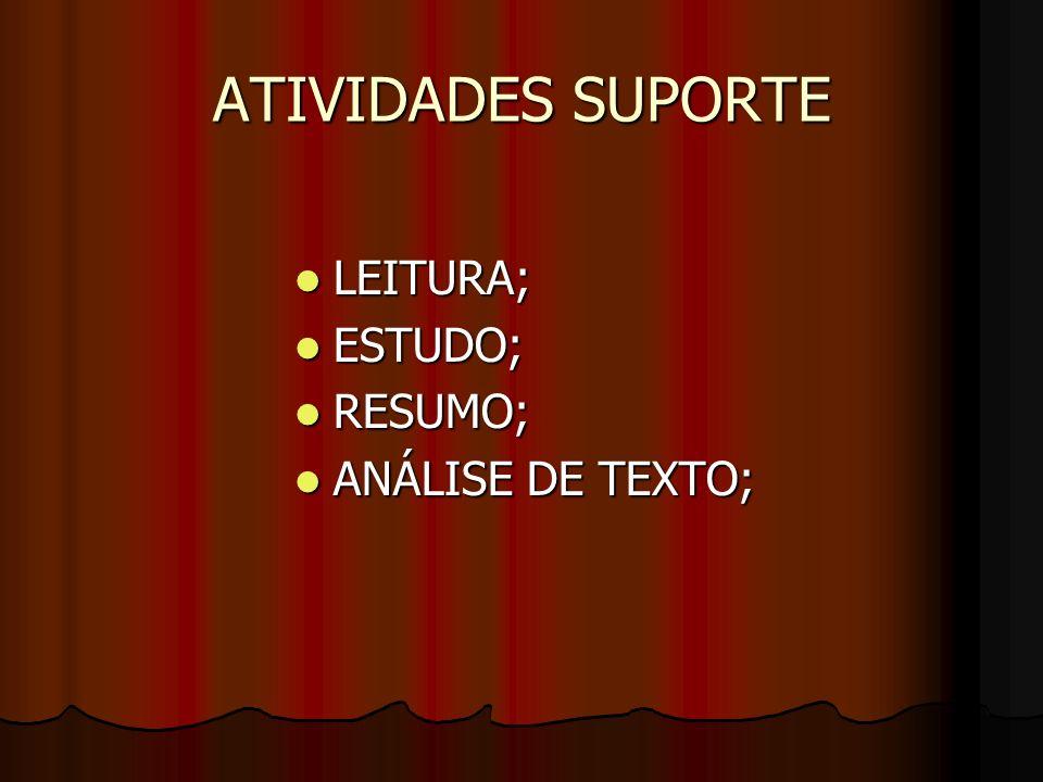 ATIVIDADES SUPORTE LEITURA; LEITURA; ESTUDO; ESTUDO; RESUMO; RESUMO; ANÁLISE DE TEXTO; ANÁLISE DE TEXTO;