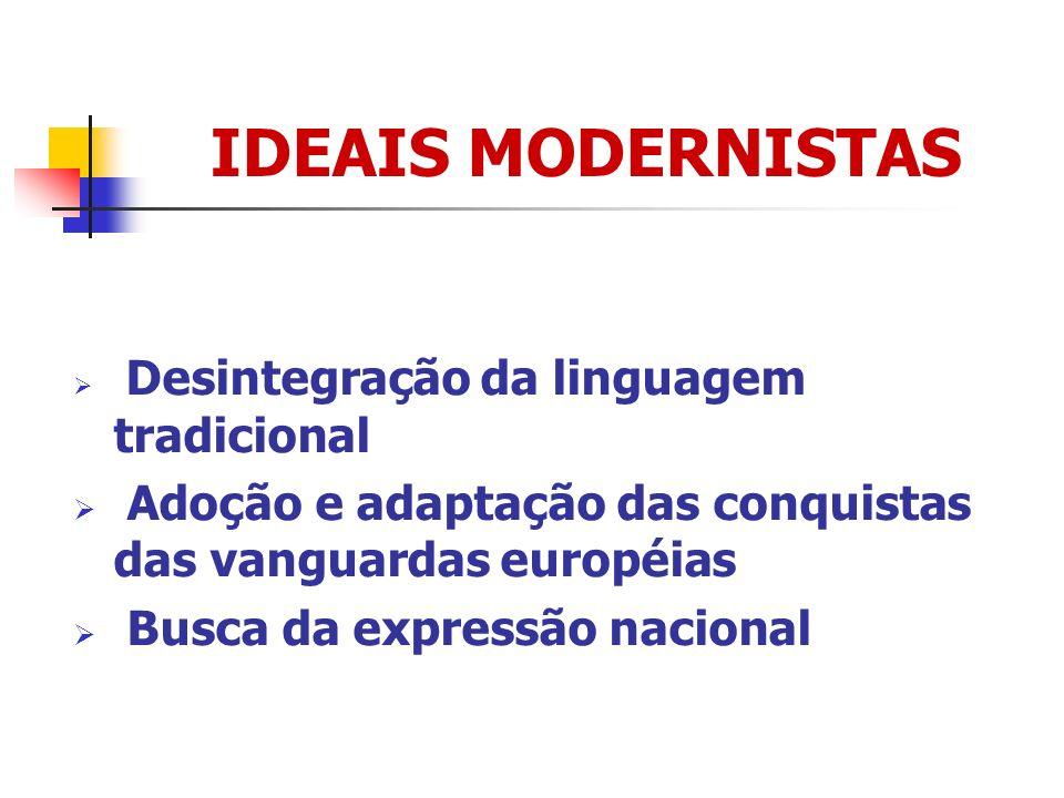 IDEAIS MODERNISTAS Desintegração da linguagem tradicional Adoção e adaptação das conquistas das vanguardas européias Busca da expressão nacional
