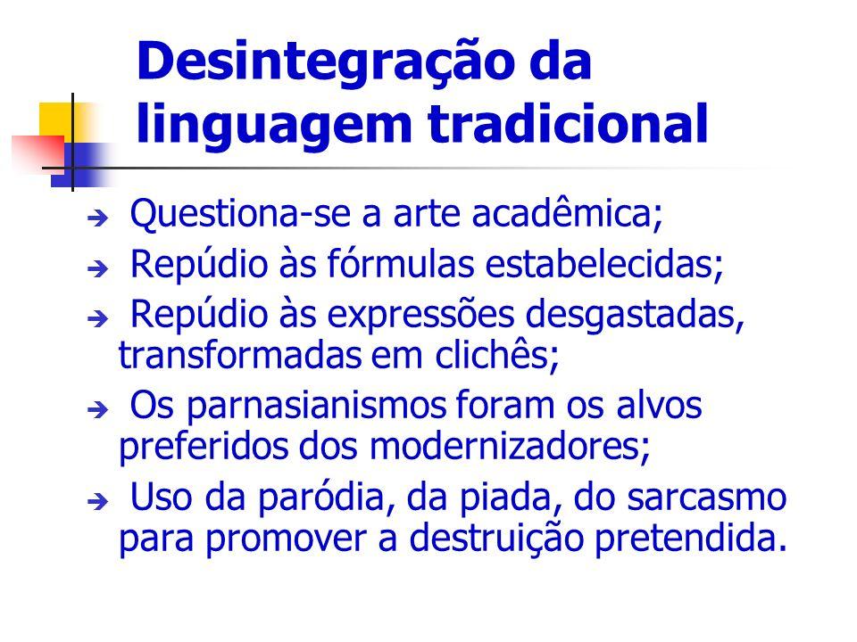 Desintegração da linguagem tradicional Questiona-se a arte acadêmica; Repúdio às fórmulas estabelecidas; Repúdio às expressões desgastadas, transforma
