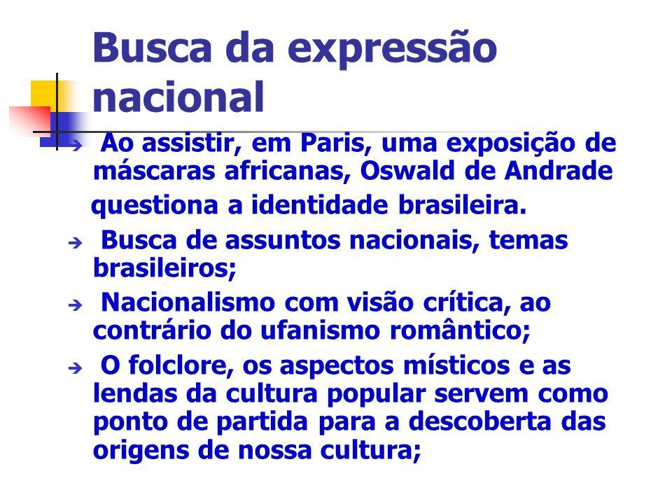 Essa necessidade de identificação levou a um retorno às origens; Consideraram o Brasil como tendo uma identidade única, não levando em conta os fatores de diversidade; Entre os próprios modernistas não houve consenso quanto à origem dessa unidade, os grupos mais expressivos foram: Pau- Brasil e Antropofagia, ambos criados por Oswald.