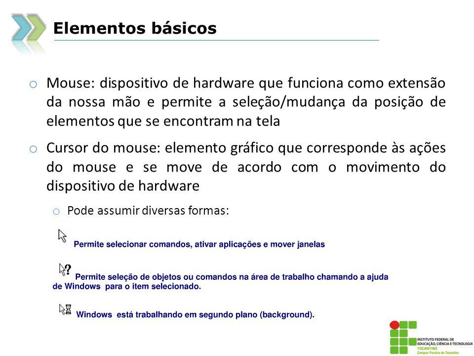 Elementos básicos o Mouse: dispositivo de hardware que funciona como extensão da nossa mão e permite a seleção/mudança da posição de elementos que se encontram na tela o Cursor do mouse: elemento gráfico que corresponde às ações do mouse e se move de acordo com o movimento do dispositivo de hardware o Pode assumir diversas formas: