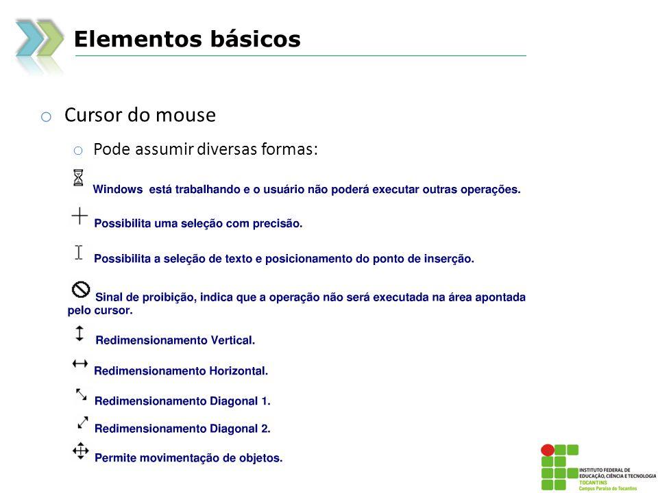 Elementos básicos o Cursor do mouse o Pode assumir diversas formas: