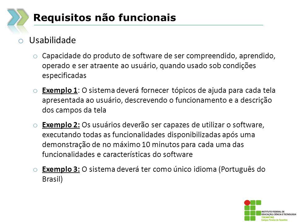 Requisitos não funcionais o Usabilidade o Capacidade do produto de software de ser compreendido, aprendido, operado e ser atraente ao usuário, quando