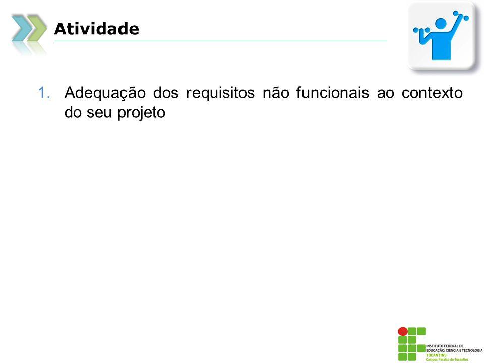 Atividade 1.Adequação dos requisitos não funcionais ao contexto do seu projeto