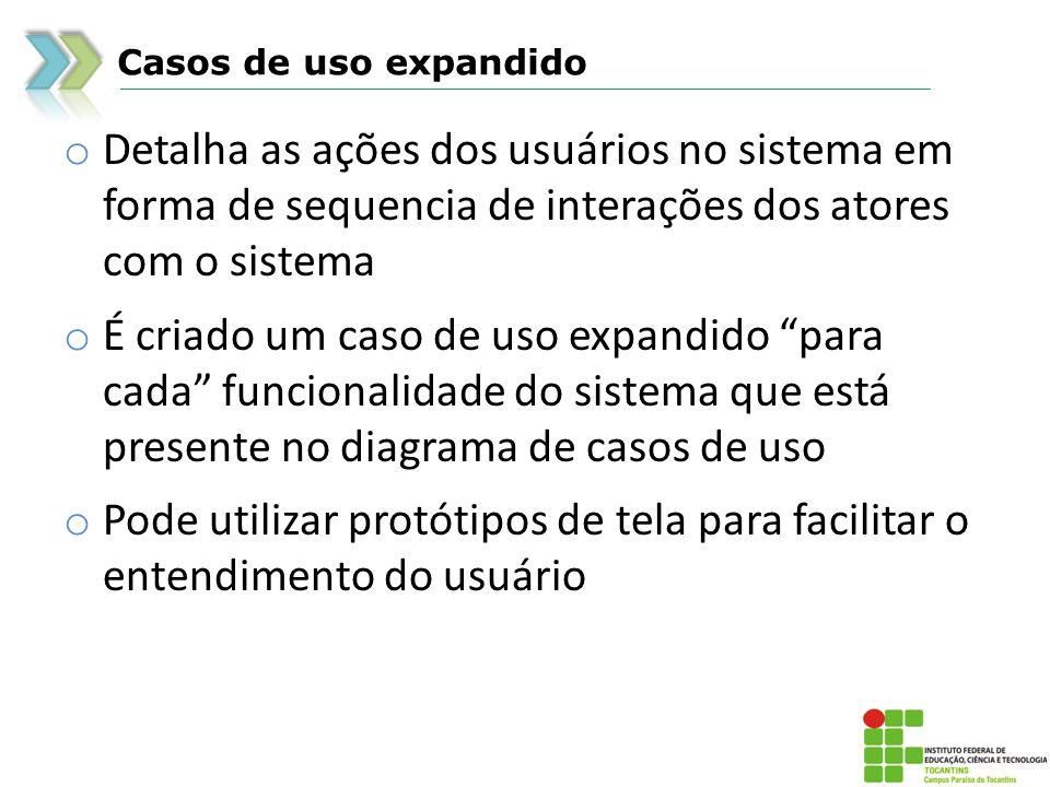 Casos de uso expandido o Detalha as ações dos usuários no sistema em forma de sequencia de interações dos atores com o sistema o É criado um caso de u