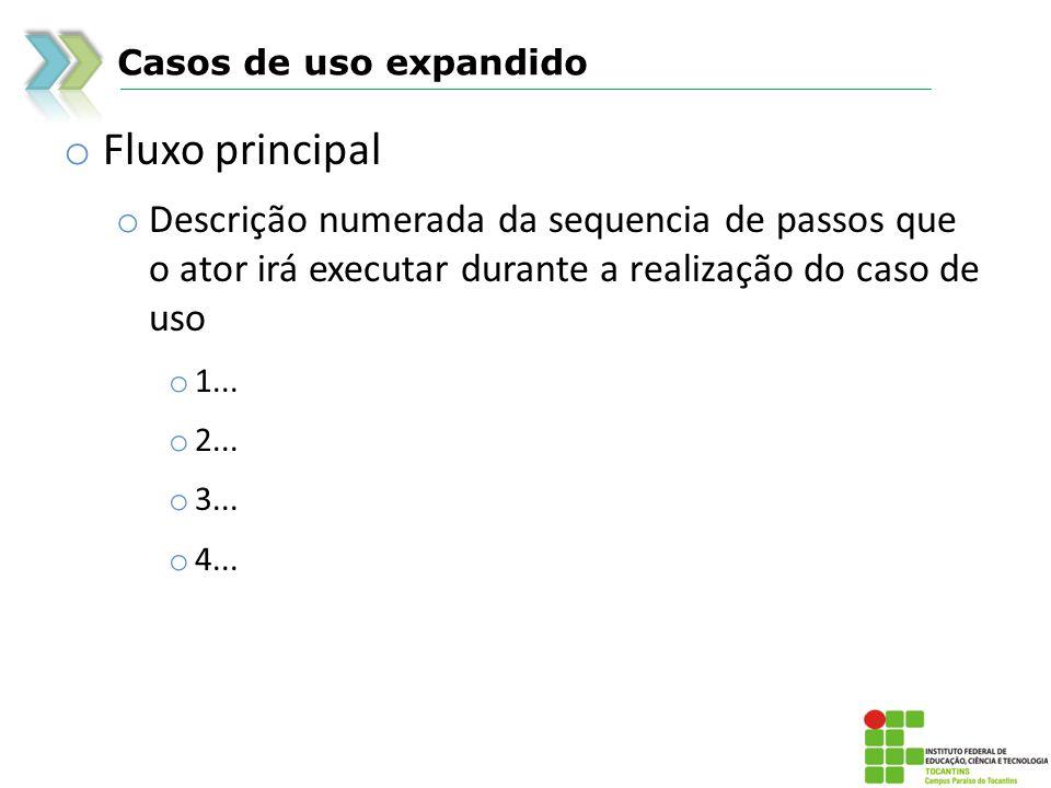 Casos de uso expandido o Fluxo principal o Descrição numerada da sequencia de passos que o ator irá executar durante a realização do caso de uso o 1..
