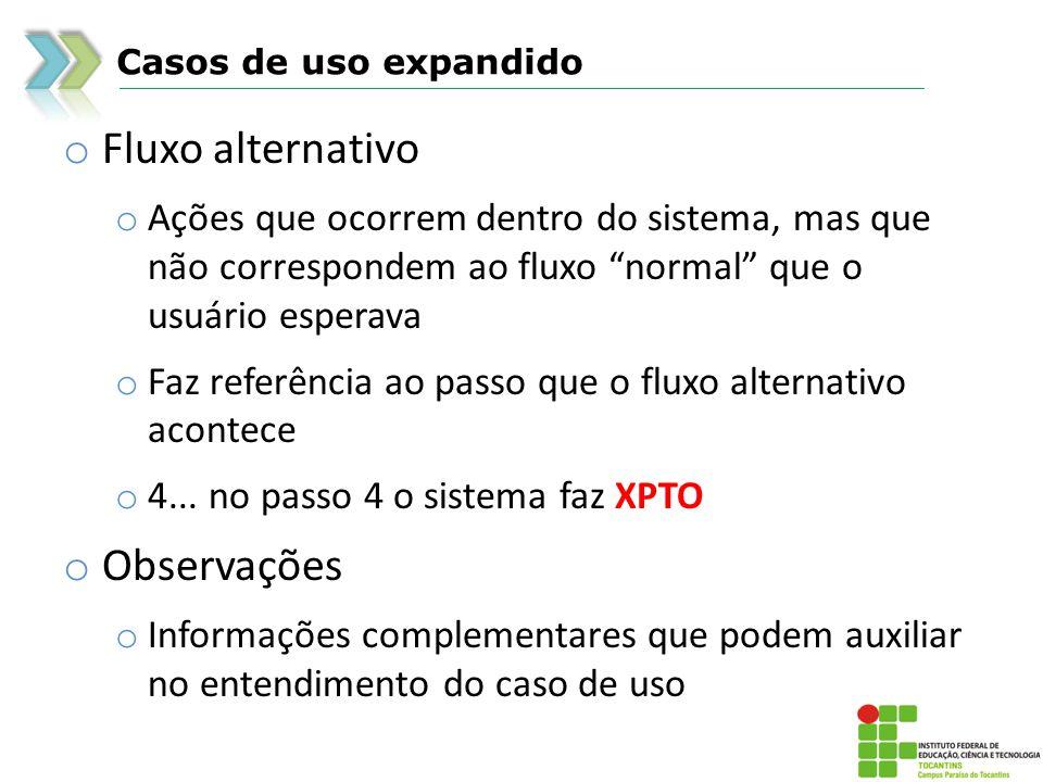 Casos de uso expandido o Fluxo alternativo o Ações que ocorrem dentro do sistema, mas que não correspondem ao fluxo normal que o usuário esperava o Fa
