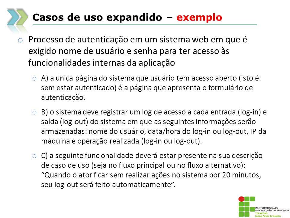 Casos de uso expandido – exemplo o Processo de autenticação em um sistema web em que é exigido nome de usuário e senha para ter acesso às funcionalida