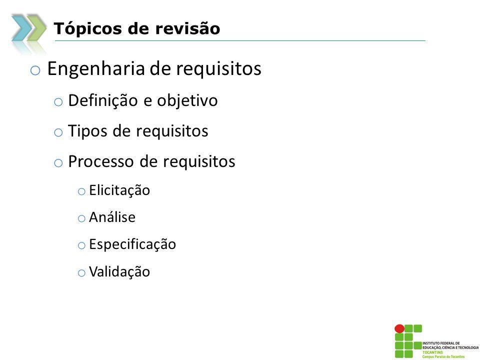 Tópicos de revisão o Engenharia de requisitos o Definição e objetivo o Tipos de requisitos o Processo de requisitos o Elicitação o Análise o Especific