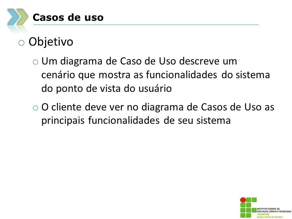 Casos de uso o Objetivo o Um diagrama de Caso de Uso descreve um cenário que mostra as funcionalidades do sistema do ponto de vista do usuário o O cli