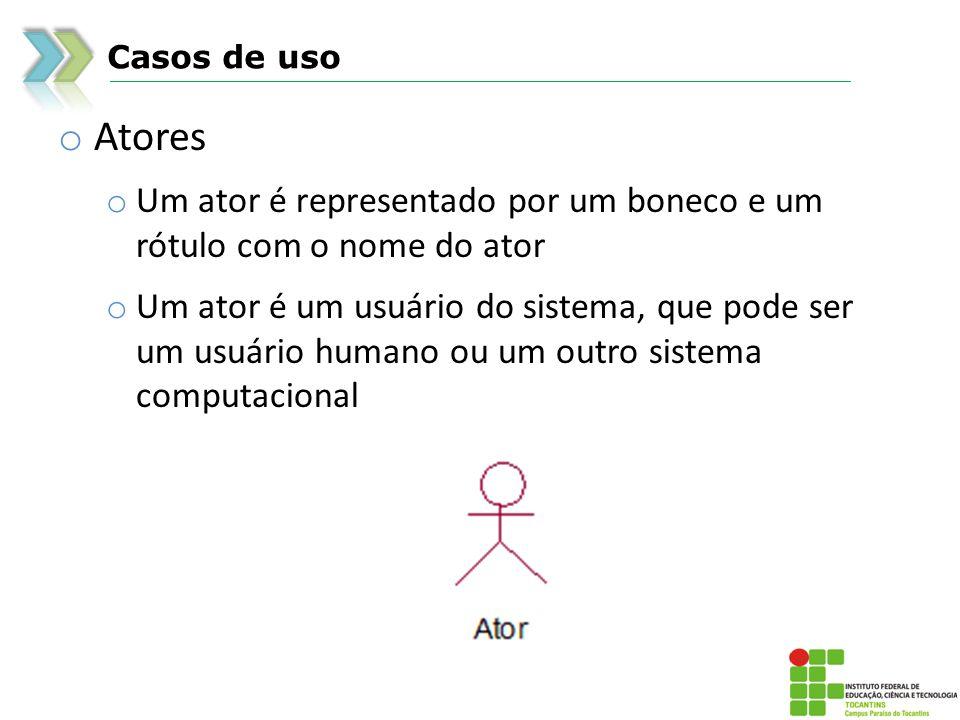 Casos de uso o Atores o Um ator é representado por um boneco e um rótulo com o nome do ator o Um ator é um usuário do sistema, que pode ser um usuário