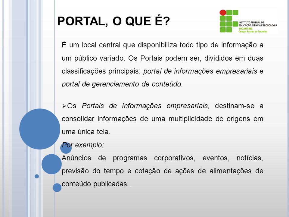 PORTAL, O QUE É. É um local central que disponibiliza todo tipo de informação a um público variado.