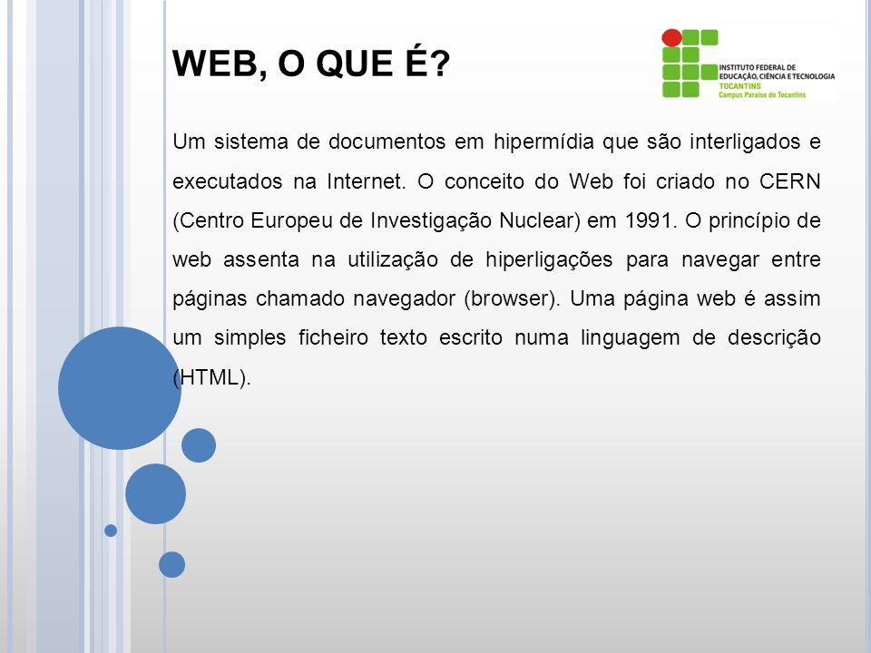 WEB, O QUE É. Um sistema de documentos em hipermídia que são interligados e executados na Internet.
