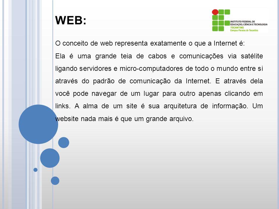 WEB: O conceito de web representa exatamente o que a Internet é: Ela é uma grande teia de cabos e comunicações via satélite ligando servidores e micro-computadores de todo o mundo entre si através do padrão de comunicação da Internet.