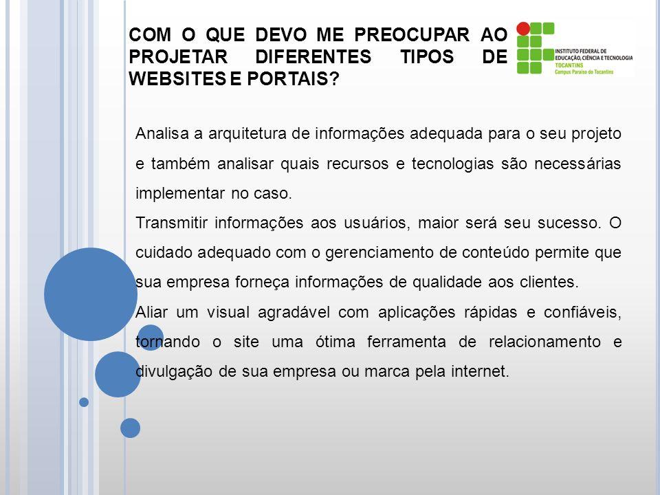COM O QUE DEVO ME PREOCUPAR AO PROJETAR DIFERENTES TIPOS DE WEBSITES E PORTAIS.
