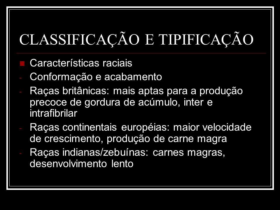 CLASSIFICAÇÃO E TIPIFICAÇÃO Características raciais - Conformação e acabamento - Raças britânicas: mais aptas para a produção precoce de gordura de ac