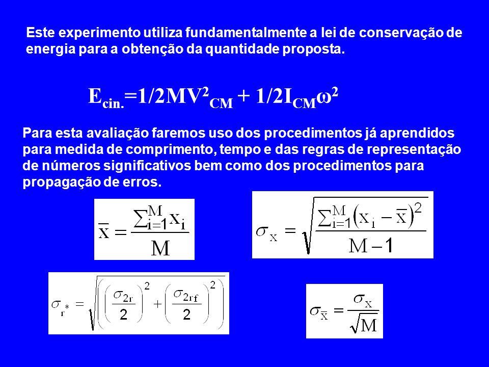 Este experimento utiliza fundamentalmente a lei de conservação de energia para a obtenção da quantidade proposta.
