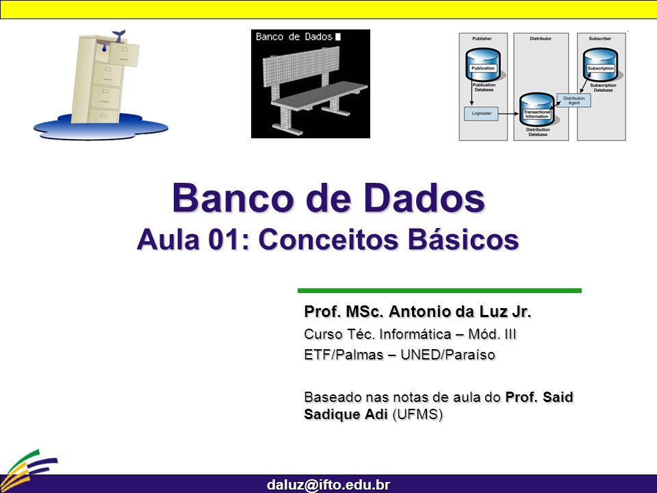 daluz@ifto.edu.br Banco de Dados Aula 01: Conceitos Básicos Prof. MSc. Antonio da Luz Jr. Curso Téc. Informática – Mód. III ETF/Palmas – UNED/Paraíso