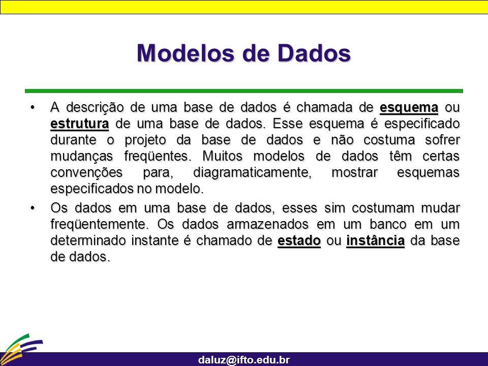daluz@ifto.edu.br Modelos de Dados A descrição de uma base de dados é chamada de esquema ou estrutura de uma base de dados. Esse esquema é especificad