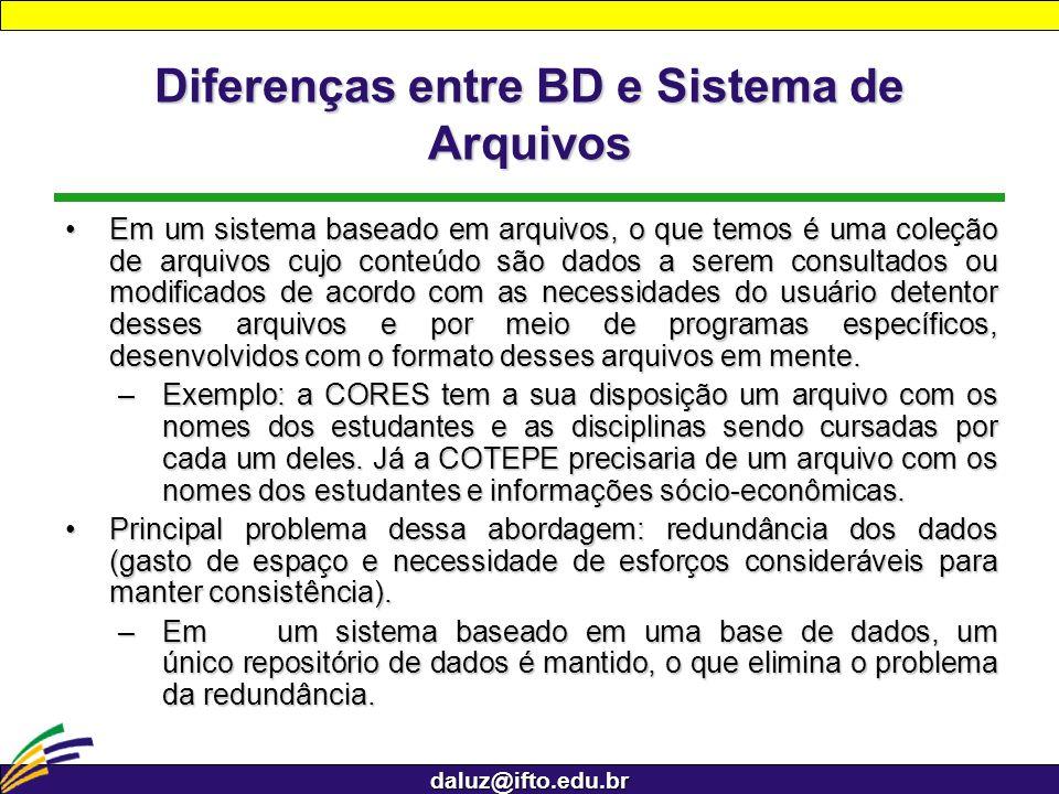 daluz@ifto.edu.br Diferenças entre BD e Sistema de Arquivos Em um sistema baseado em arquivos, o que temos é uma coleção de arquivos cujo conteúdo são