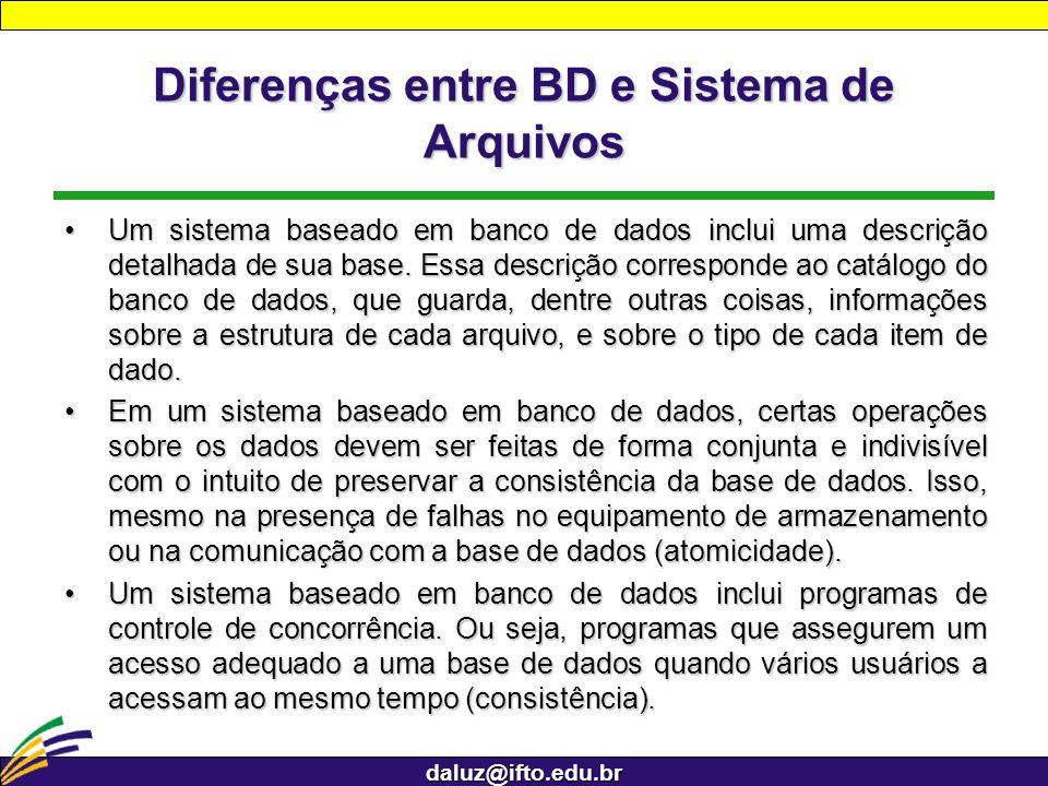 daluz@ifto.edu.br Diferenças entre BD e Sistema de Arquivos Um sistema baseado em banco de dados inclui uma descrição detalhada de sua base. Essa desc