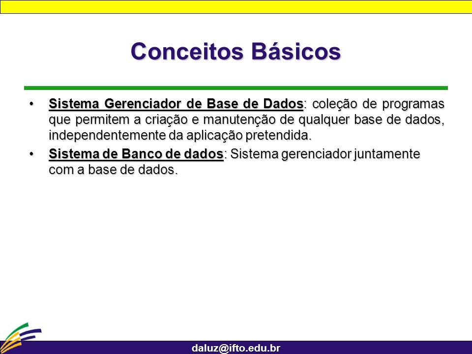 daluz@ifto.edu.br Conceitos Básicos Sistema Gerenciador de Base de Dados: coleção de programas que permitem a criação e manutenção de qualquer base de