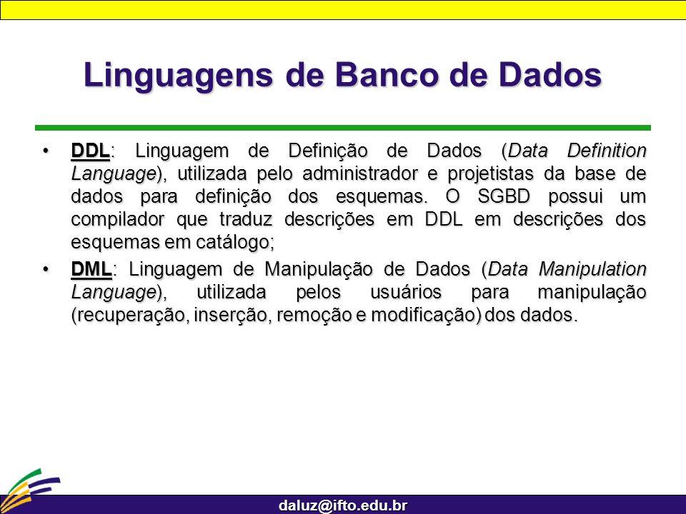 daluz@ifto.edu.br Linguagens de Banco de Dados DDL: Linguagem de Definição de Dados (Data Definition Language), utilizada pelo administrador e projeti