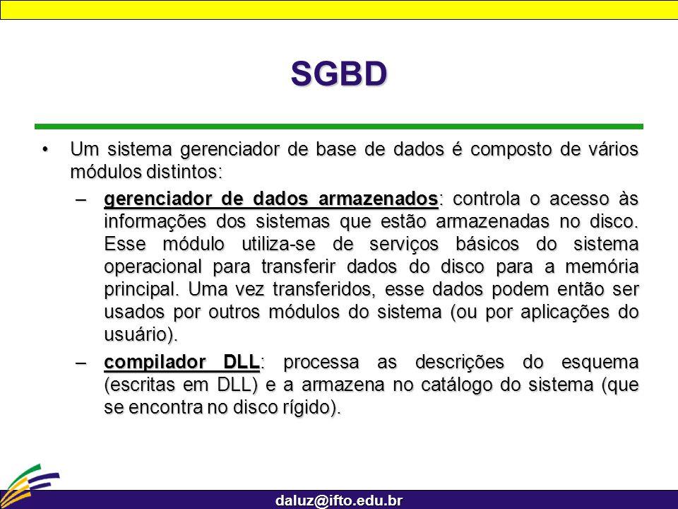 daluz@ifto.edu.br SGBD –processador runtime: manipula acessos à base de dados em tempo de execução.