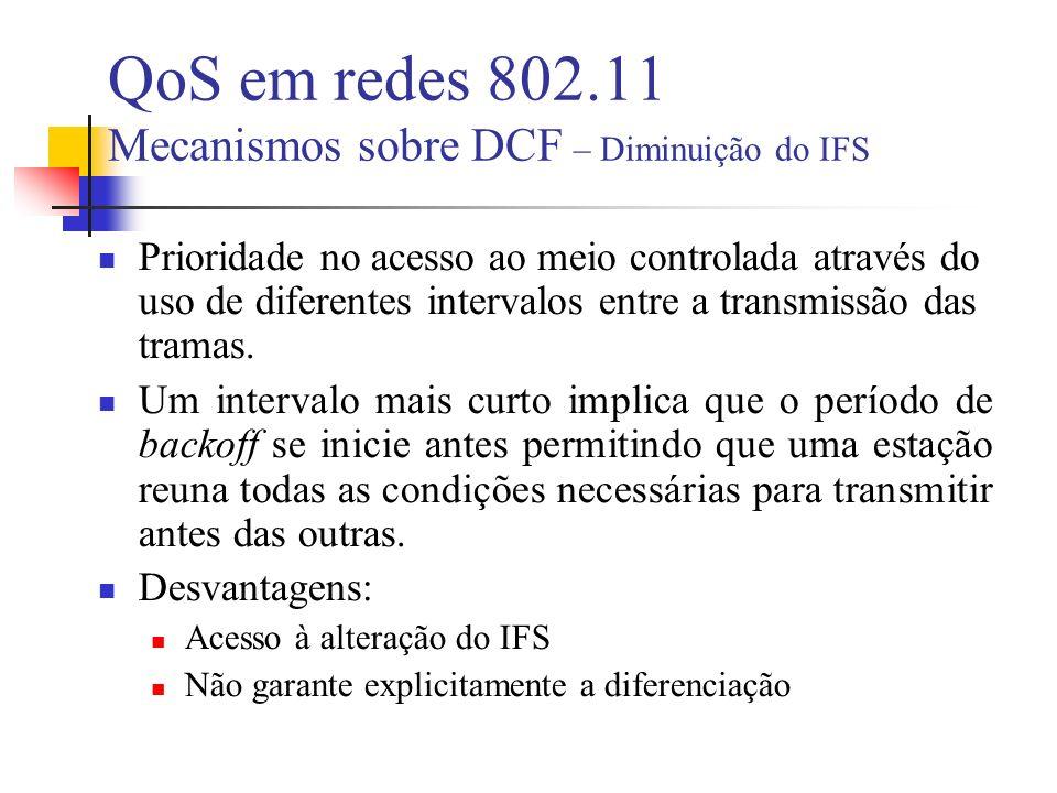 Prioridade no acesso ao meio controlada através do uso de diferentes intervalos entre a transmissão das tramas.